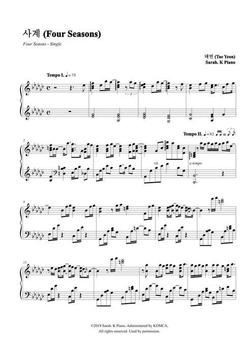 태연 (TAEYEON) - 사계 (Four Seasons) by Sarah.K Piano