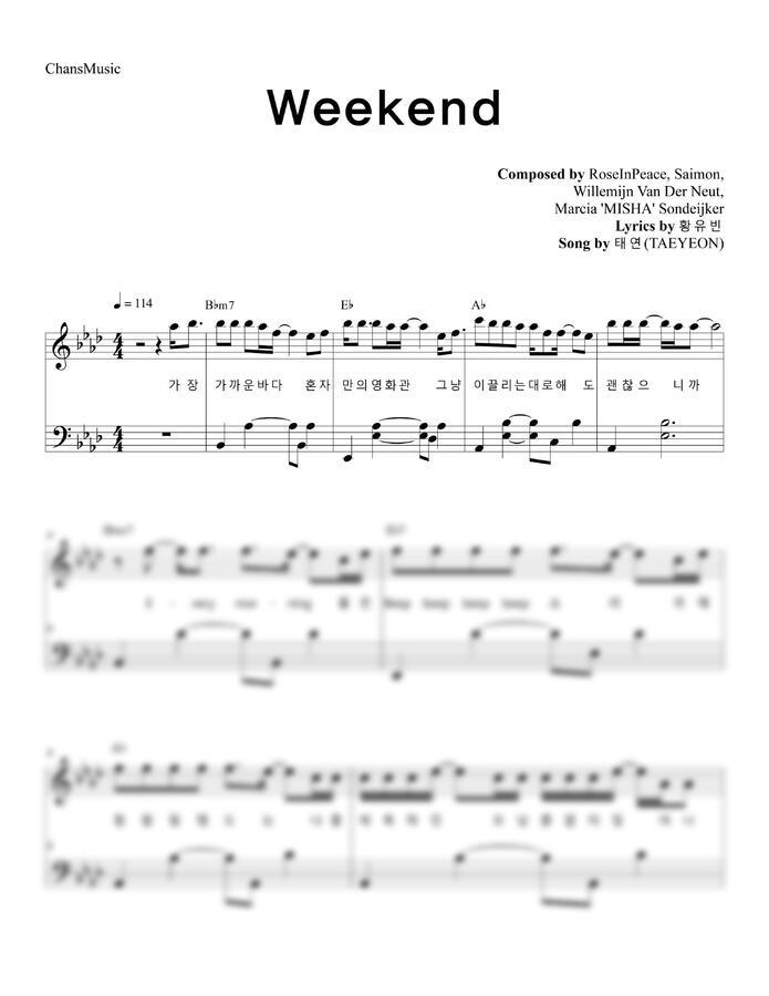 태연 (TAEYEON) - Weekend (가사, 쉬운 악보) by 찬스뮤직