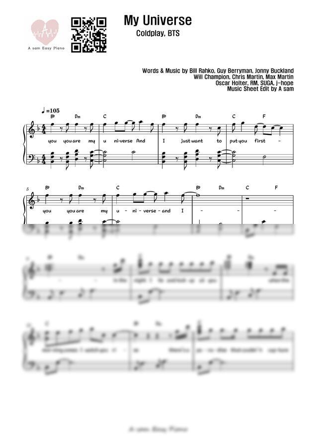 Coldplay, 방탄소년단 (BTS) - My Universe (F key,MR) by 에이쌤