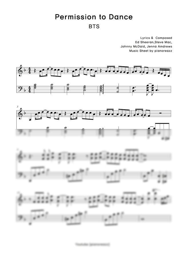 방탄소년단 (BTS) - Permission to Dance (쉬운키.편안한분위기) by 피아노리즈