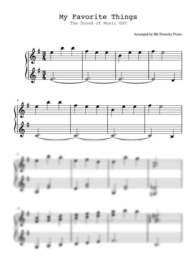 사운드 오브 뮤직 OST - My Favorite Things (쉬운 악보) by My Favorite Piano
