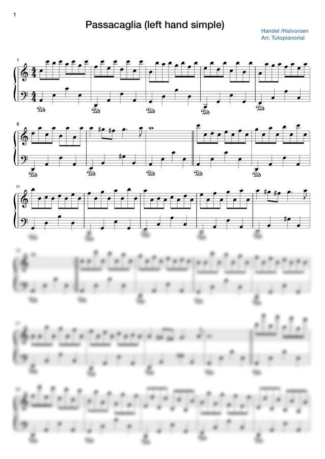 J. Halvorsen (할보르센) - Passacaglia (파사칼리아) (왼손 쉬운 버전) by 튜토피아노리얼