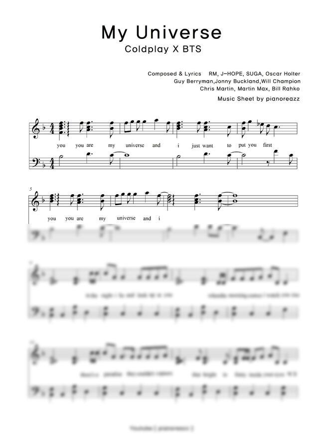 Coldplay, 방탄소년단 (BTS) - My Universe (쉬운키 악보) by pianoreazz