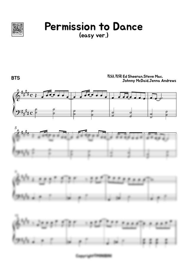 방탄소년단 (BTS) - Permission to Dance (쉬운 악보) by MINIBINI