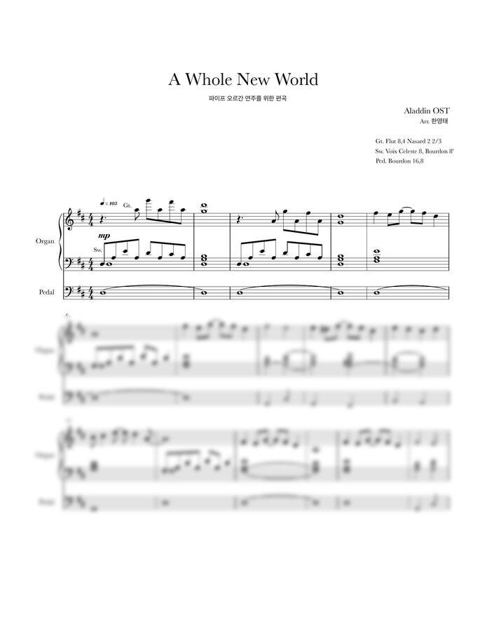 알라딘 OST - A Whole New World (오르간 편곡) by 한영태