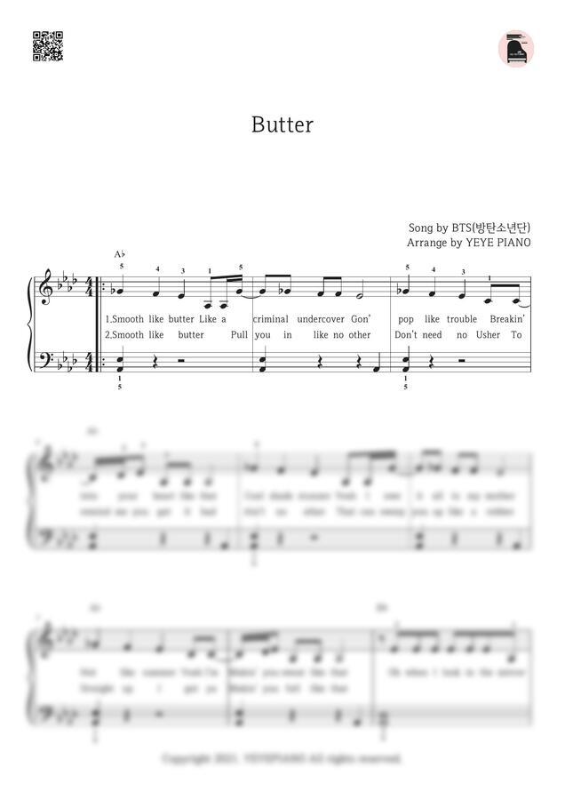 방탄소년단 (BTS) - Butter (쉬운 악보, 손가락 번호) by 예예피아노
