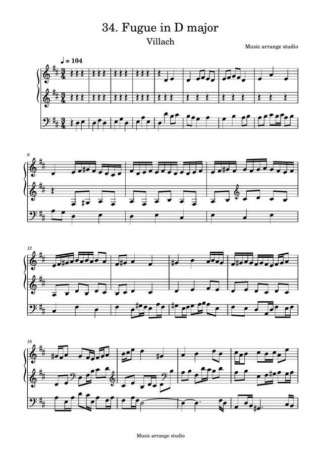 Music Arrange Studio - 34. Fugue in D major Villach (작곡한 푸가 악보)