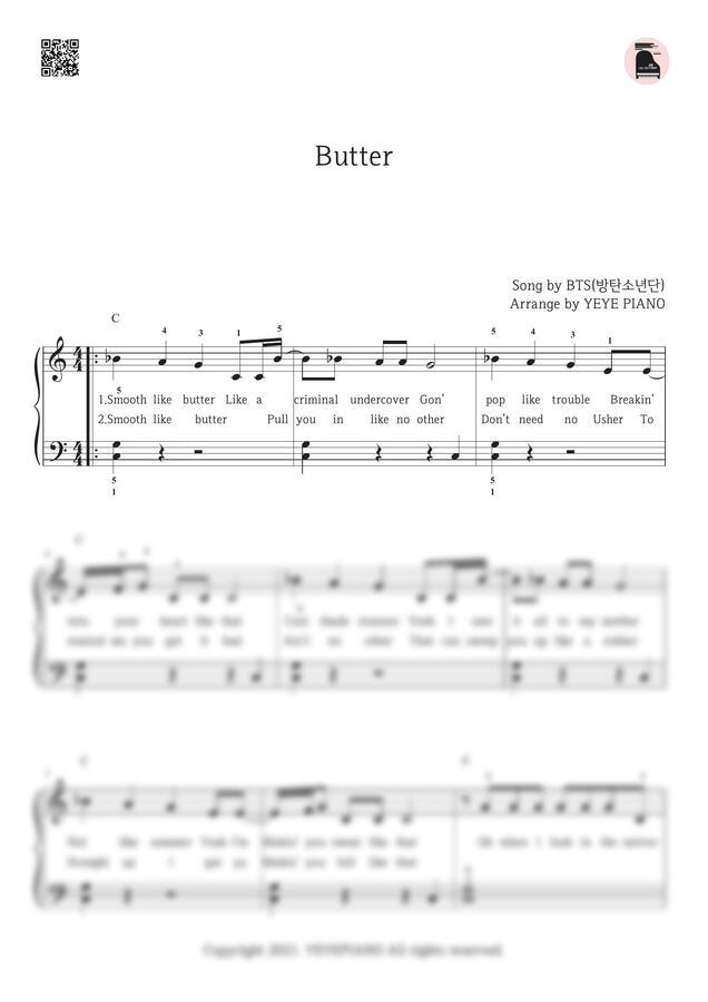 방탄소년단 (BTS) - Butter (C키 쉬운 악보) by 예예피아노