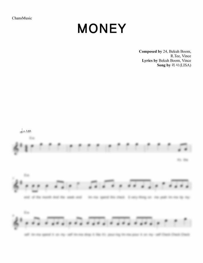 리사 (LISA) - MONEY (멜로디 악보) by 찬스뮤직