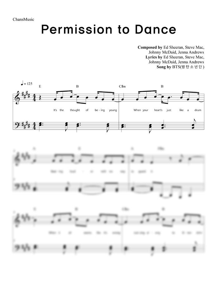 방탄소년단 (BTS) - Permission to Dance (가사, 쉬운 악보) by 찬스뮤직