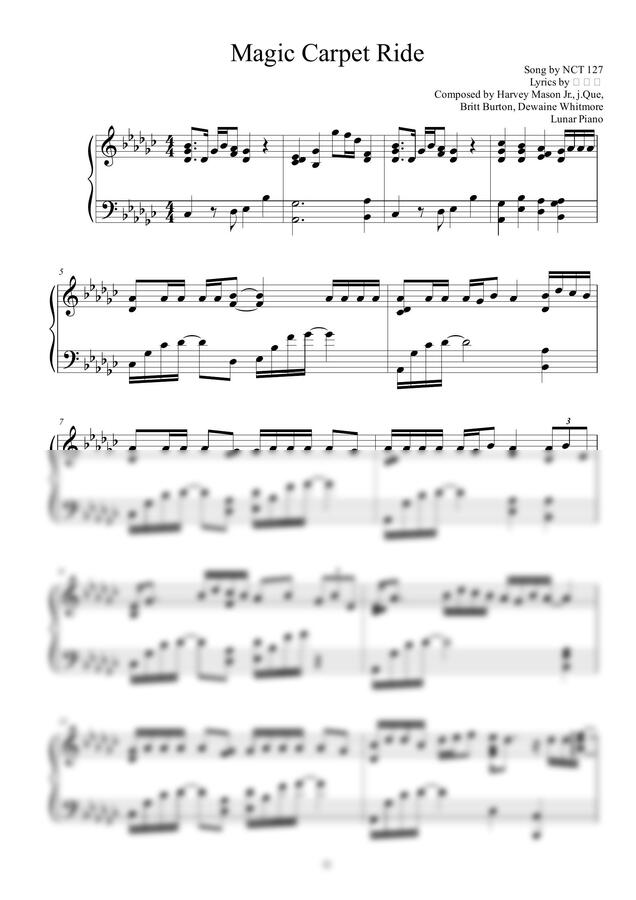 NCT 127 - Magic Carpet Ride (쉬운키 포함) by Lunar Piano 루나피아노