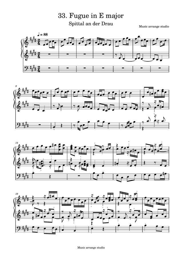 Music Arrange Studio - 33. Fugue in E major Spittal an der Drau (작곡한 푸가 악보)