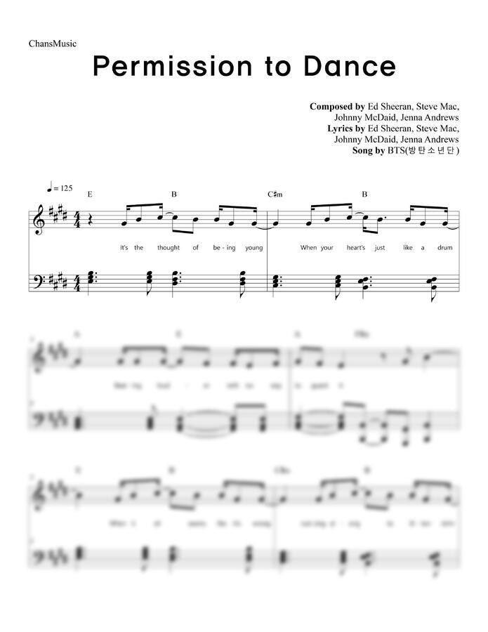 방탄소년단 (BTS) - Permission to Dance (코드, 가사 포함) by 찬스뮤직
