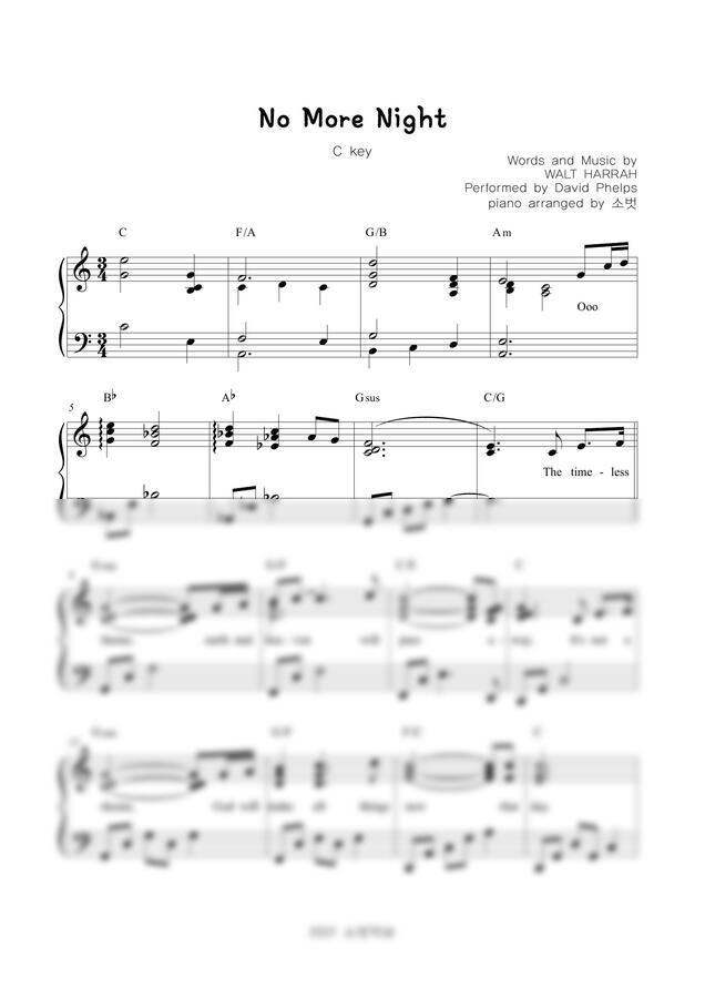 David Phelps - No more night (C key) by 소벗