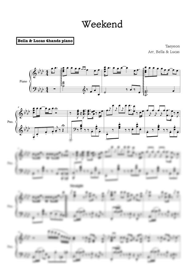태연 (TAEYEON) - Weekend (SOLO PIANO) by 벨라 앤 루카스
