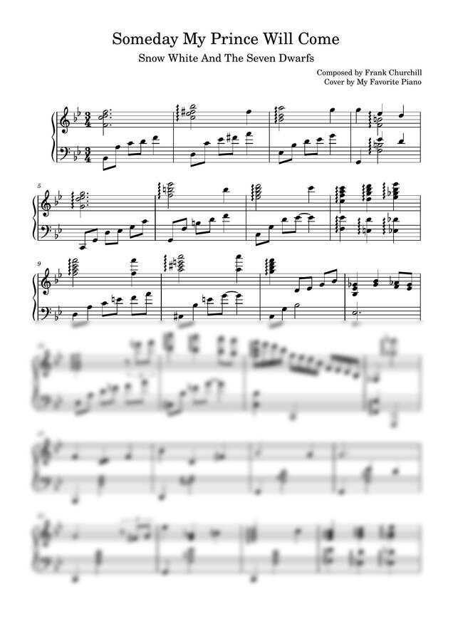 백설공주 OST - Someday My Prince Will Come (어려운 악보) by My Favorite Piano