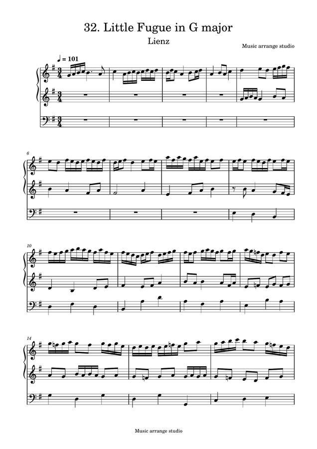 Music Arrange Studio - 32. Little Fugue in G major Lienz (작곡한 푸가 악보)