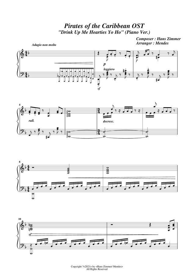 캐리비안의 해적 OST - Drink Up Me Hearties by Mendes