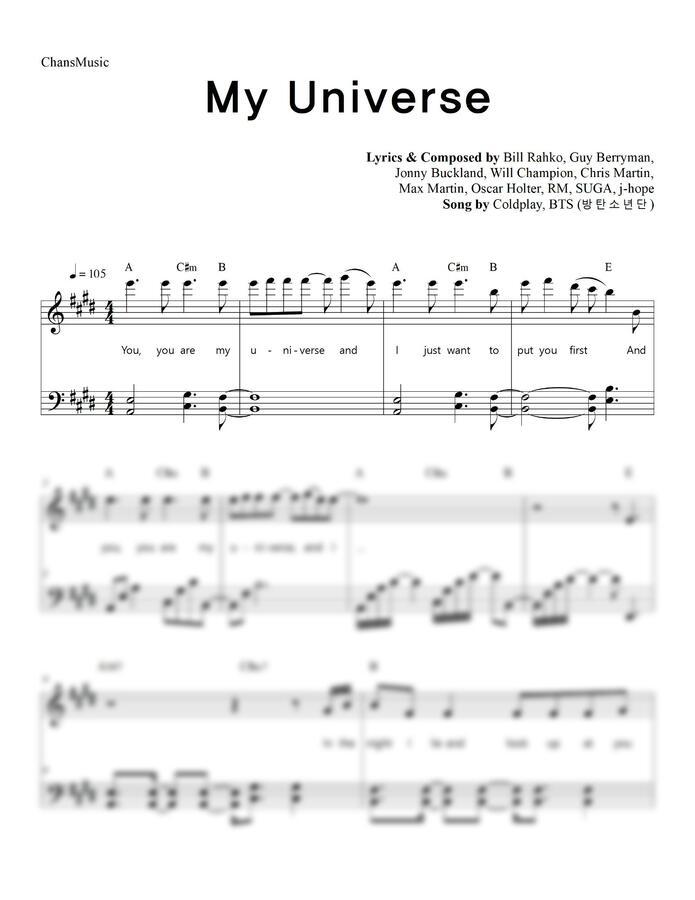Coldplay, 방탄소년단 (BTS) - My Universe (가사, 쉬운 악보) by 찬스뮤직