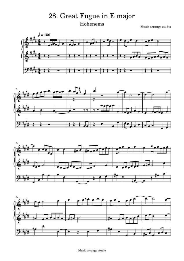 Music Arrange Studio - 28. Great Fugue in E major Hohenems (작곡한 푸가 악보)